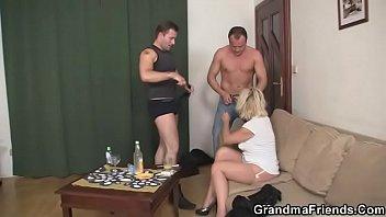 Blonde mature woman pleases neighbor