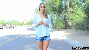 torrid ash-blonde goes bare-chested in public