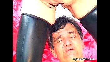 Dirty slut screw dudes ass with a dildo