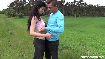 Brunette teen babe gets fucked outdoors