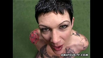Tatted inexperienced cougar homemade bj with jizz shot xxx movies